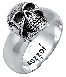 Kuzzoi Totenkopf Herrenring, massiv 10 mm breit in 925 Sterling Silber, schwarz oxidiert mit Gravur, Ring für Männer in der Ringgröße 60 - 66, 0601662919