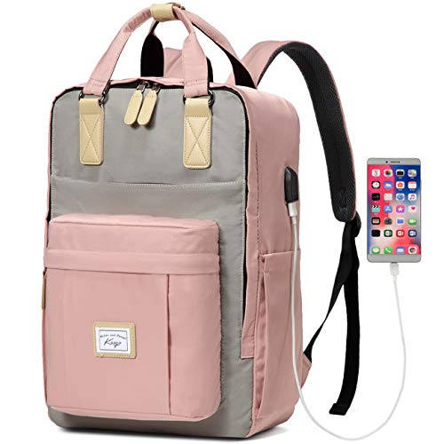 Backpack for Women, Kasgo Water Resistant Classic School Backpack 15.6 inch Laptop Rucksack with USB Charging Port Bookbag Casual Daypack for Teenagers Girls College Travel Work (Pink and Light Grey)