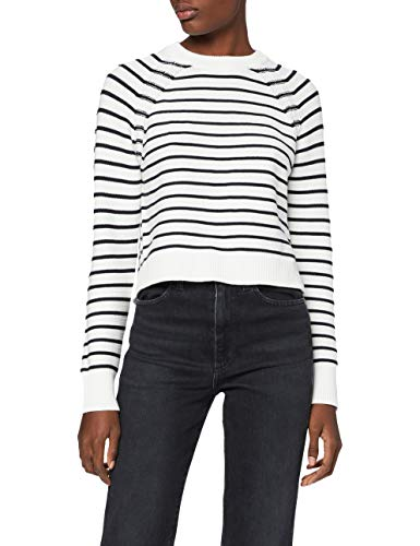 French Connection Damen Lilly Mozart Stripe Jumper Pullover, Summer Wh/Utility Bl, M