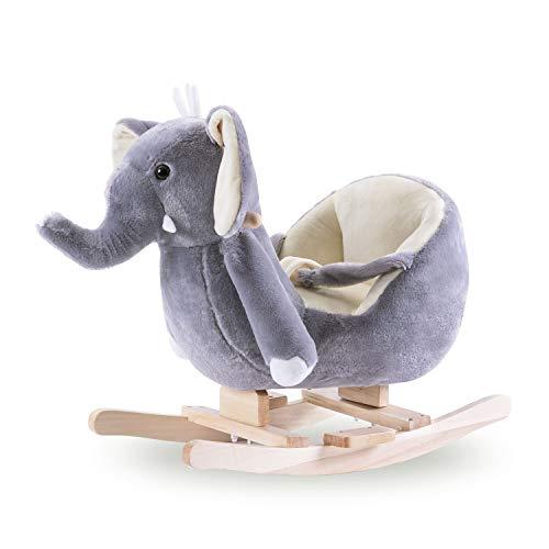 MROSW Grau Baby-Elefant-Plüsch-Schaukelpferd 3-6 Jahre Alte Kinder Sooth Trojan Massivholz-Shake The Car