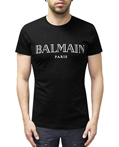Balmain Paris Logo Print Black T-Shirt (S)