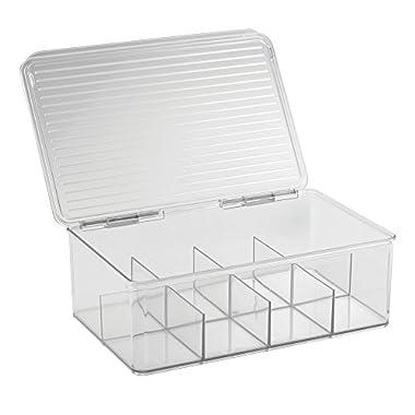 InterDesign Binz Tea Bag Organizer Box - Kitchen Cabinet Storage, Clear