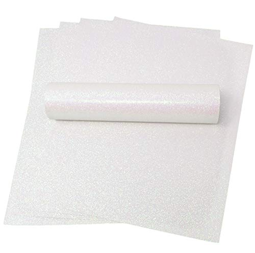 A4 Glitter Paper White Iridescent Sparkly Soft Touch Non Shed Thick 150gsm Paper Pack of 10 Sheets