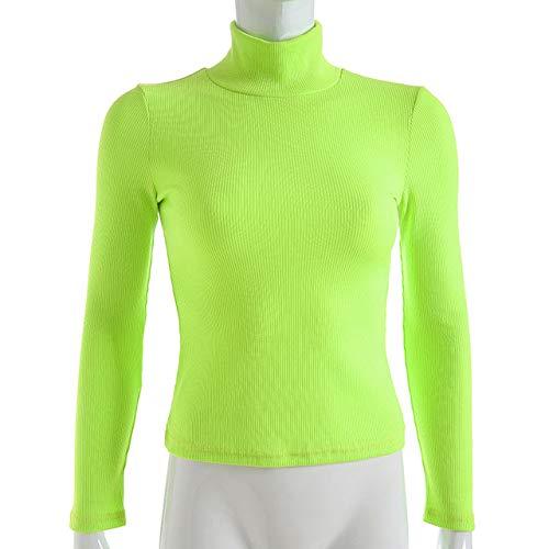 ADSIKOOJF Solid Coltrui Slim Fitted Neon T-Shirt Vrouwen Lange Mouw Tops Tee Shirt 2019 Herfst Tops Womens Kleding Casual Tee Shirt