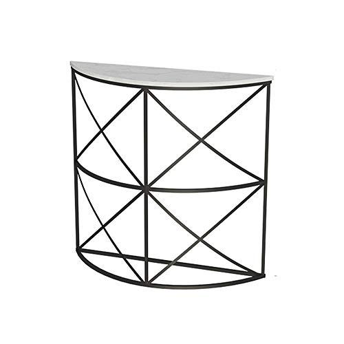 FUFU Mesas auxiliares Mesa de consola multiusos para entrada media luna/media redonda, mesa de entrada con tapa de mármol, estilo moderno, marco de hierro estable 31 × 9.8 × 31 pulgadas