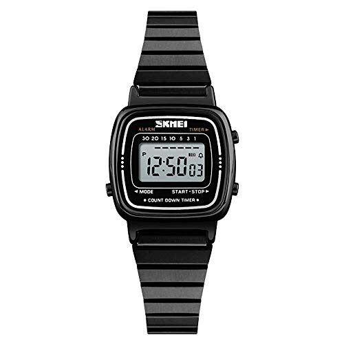 Reloj Digital para niñas Reloj Simple de cuadradillo Ultra Delgado de Moda Simple Relojes Impermeables para Mujer, Negro