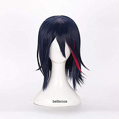 KILL la KILL Matoi Ryuko Cosplay Pelucas Corto azul con peluca de pelo sinttico rojo resistente al calor + gorro de peluca