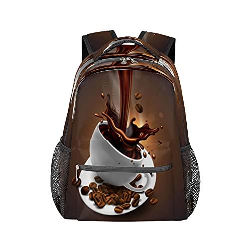Zaino da caffè a forma di chicco di caffè, resistente all'acqua, adatto per la scuola, il computer, viaggi, escursionismo, campeggio, zaino a tracolla per donne e uomini