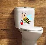 Ghgd Patrón De Decoración De Habitación Infantil De Dibujos Animados Abeja Linda Con Etiqueta De Pared De Cubo De Jacquard Calcomanía De Inodoro 23.1X22 Cm