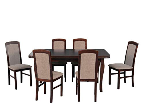 Mirjan24 Esstisch mit 6 Stühlen DM50, Sitzgruppe, Küchentisch, Esstischgruppe, Esszimmer Set, Esstisch Stuhlset, Esszimmergarnitur, DMXZ (Nuss/Nuss Inari 23)