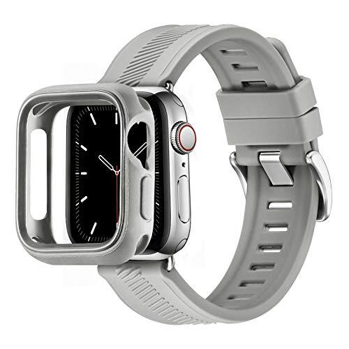 RTYHI Compatible con Apple Watch Correa de 44 mm, 40 mm, 42 mm, 38 mm, silicona suave, correa de repuesto extraíble, compatible con iWatch Series 6/SE/5/4/3/2/1 (42 mm, 44 mm, gris oscuro/plata).