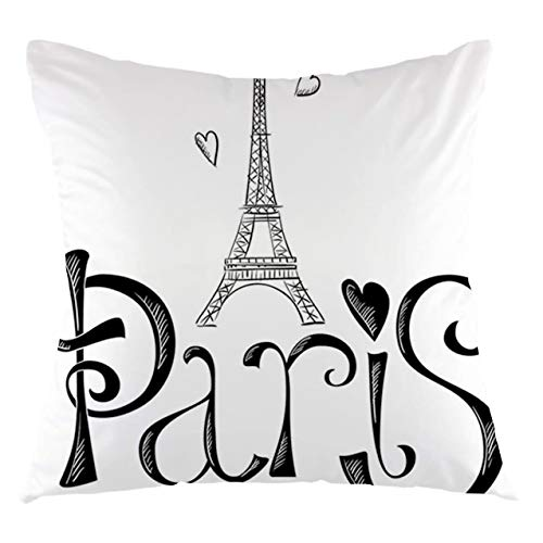 Paris City Throw Pillow Cushion Cover Illustration with Eiffel Tower France Heart Shapes Silhouette Decorative Vacation Art Decorative Square Accent Pillow Case, 18' X 533',Black White