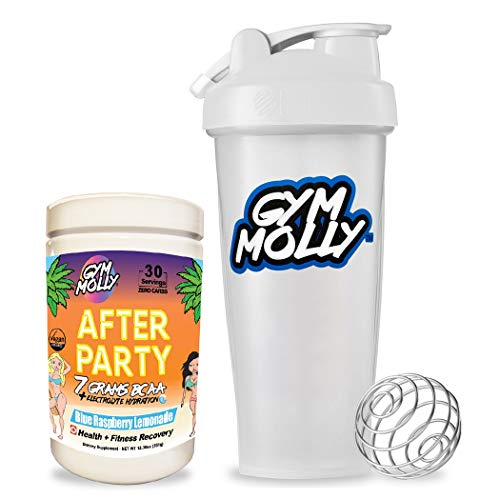 Gym Molly After Party BCAA Powder with Official Blender Bottle - Workout Drink Supplement for Fitness Recovery | Caffeine Free | Zero Carbs, Sugar, or Calories | Blue Raspberry Lemonade