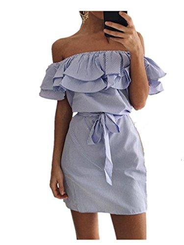 Hippolo Damen Ärmellos Streifen Minikleid Rückenfrei Strandkleid Rüschen Bandeau Kleid (S, Blau)