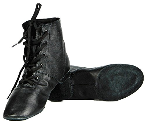 Cheapdancing Women's Leather Practice Dancing Shoes Jazz Boots Soft-Soled High Boots, Black (7.5/39)