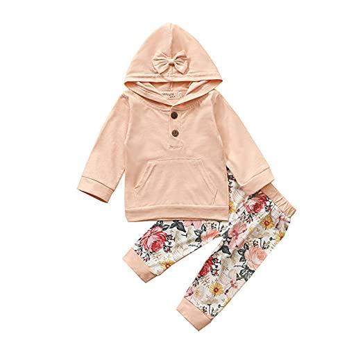 LilChicMe 0-24M Niño Bebé Niñas Floral Trajes De Manga Larga Con Capucha Top+Pantalones 2 PCS Ropa De Otoño Para Bebés, C, 24 meses