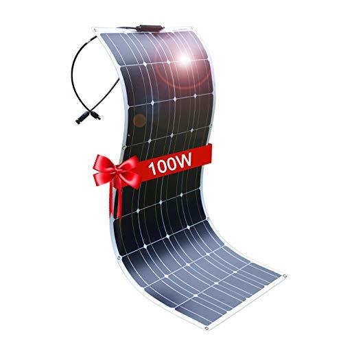 DOKIO Draagbaar Lichtgewicht Semi-Flexibel Zonnepaneel 100Wp voor Boot, Tent, Camper, Caravan etc. 12V