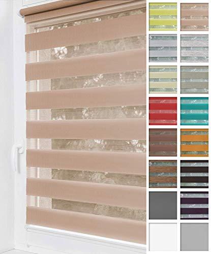 Home-Vision® Duo Rollo Klemmfix, Doppelrollo ohne Bohren mit Klämmträgern, Rollos für Fenster & Türen (Beige, B80cm x H220cm)