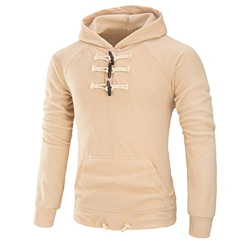Mens Hoodies Pullover Breathable Casual Sweatshirts Wooden Buttons Placket Lightweight Comfortable Jumpers Autumn Spring Breathable Sports Tops Winter Daily Stylish Wear 3XL
