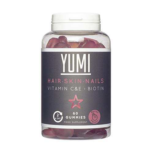 YUMI - Biotin Hair Growth Supplement 5000mcg with Vitamin C & E | Hair, Skin and Nails Supplement - Effective Hair Vitamins for Hair Care & Skincare | 60 Vegan Vitamin Gummies