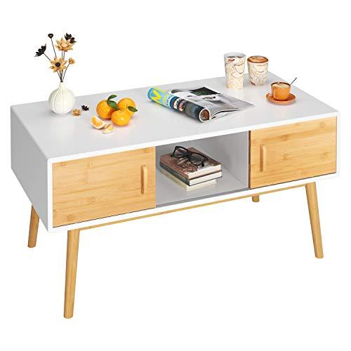 HOMECHO Kaffeetisch Sofatisch mit 3 Fächern und 4 Schiebetüren in beide Richtungen TV Board lowboard Holz Weiß 104.5 * 50.2 * 50.5 cm