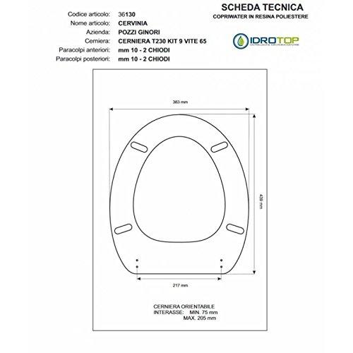 WC Pozzi Ginori cervinia-curva Whisky Reißverschluss Absenkautomatik Soft Close cromo-sedile-asse WC