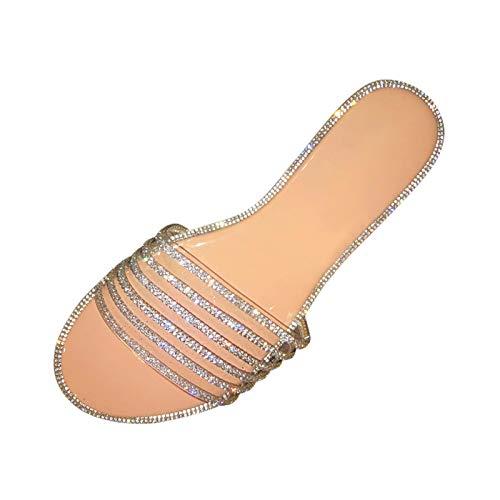 Sandalias Vestir Mujer Moda Sandalias Antideslizantes con Incrustaciones De Diamantes De Imitación Zapatillas Chanclas Zapatos Planos