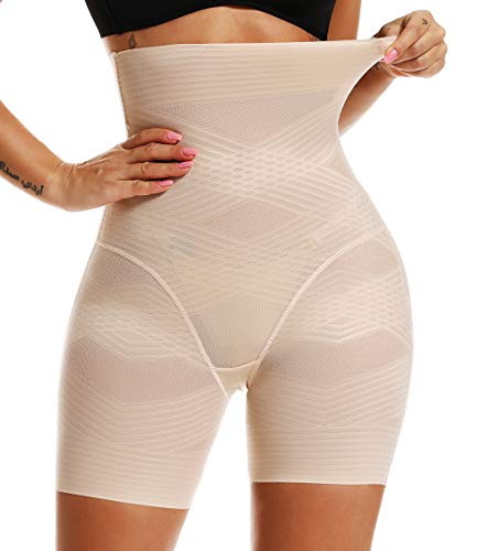 MISS MOLY Miederhose Bauch Weg Figurformende Miederpants Shapewear mit Bein Hohe Taille Nahtlose Shaping Taillenformer ShapePants Angenehme Oberschenkel PO Body Shaper Unterwäsche