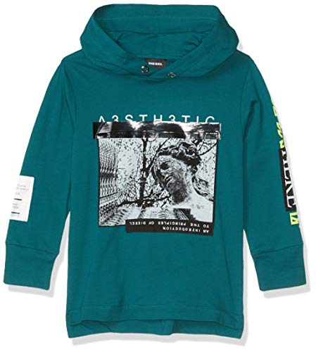 Diesel Boys' Big Long Sleeve T-Shirt, Hoodie Tropical Green, 16