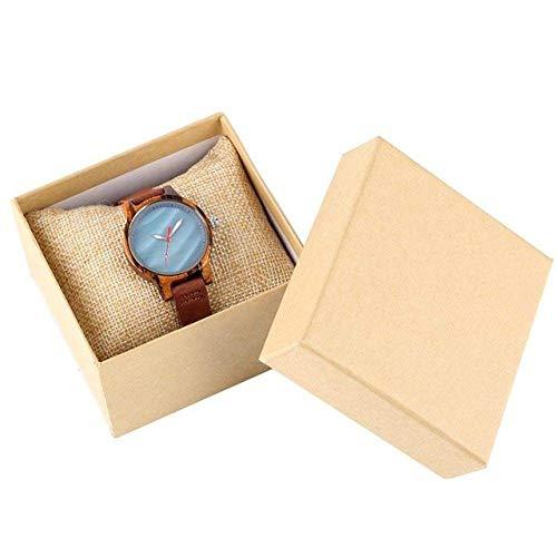 LYMUP Reloj de Madera Mujeres únicas Reloj de Madera Coral Azul Chic Red Casual Cuarzo Reloj de Madera para Mujeres Reloj de Pulsera de Cuero,Vapor (Color : Blue with Box)