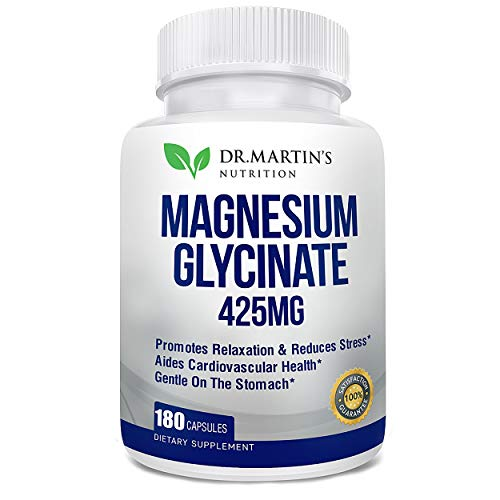 Premium Magnesium Glycinate 425mg - 180 Vegan Capsules - Helps with Stress Relief, Sleep, Muscle Cramps & Healthy Heart | Non-GMO, Gluten Free