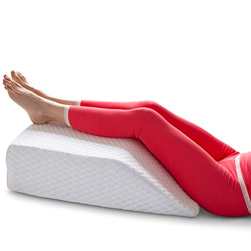 Long Leg Elevation Pillow for Circulation   2 Covers Included   Memory Foam Wedge Pillow for Legs and Knee Support   Help Lower Back Pain Lymphedema & Swelling (6 Inch Elevation)