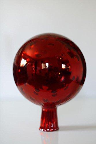 Rosenkugel aus Glas für den Garten – perfekte handgemachte Garten-Dekoration für Ihr Blumenbeetin vielen Farben, Formen und Größen, Hoche 21cm und Durchschnittlich 15cm, Rot trauben Optik