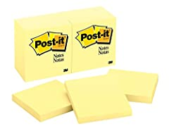 3 in x 3 in, Canary Yellow Post-it Notes stick securely and remove cleanly Unique adhesive designed for use on paper or in planners America's #1 favorite sticky note Leave reminders or call out important information 12 Pads/Pack, 100 Sheets/Pad Post-...