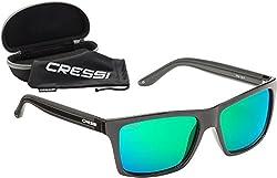 Cressi Unisex-Erwachsener Rio Sunglasses Premium Sport Sonnenbrille Polarisierte 100% UV-Schutz, Brillengestell Schwarz-Grün Linsen, Einheitsgröße