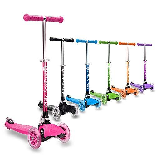 3StyleScooters® RGS-1 Petite Trottinette à Trois Roues pour Enfants - Idéal pour Les Enfants de Plus de 3 Ans, Dotée de Roues à Lumières LED, Modèle Pliable, Poignées Réglables (Rose)