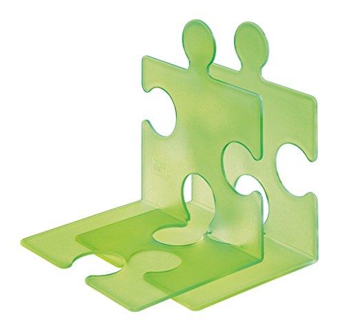 HAN CD-Ständer & Buchstütze PUZZLE 9212-60 in Transluzent-Grün / Standfester, kombinierbarer Stehsammler in modernem Puzzle-Look / Für CDs, Bücher & DVDs
