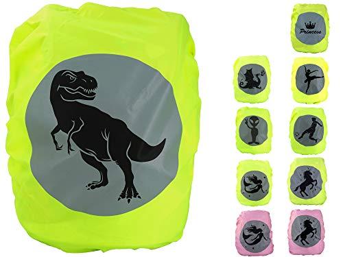 EANAGO Premium Schulranzen/Rucksack Regenschutz/Regenüberzug, ohne Nähte, 100% wasserdicht, mit Sicherheits-Reflektionsbild T-Rex