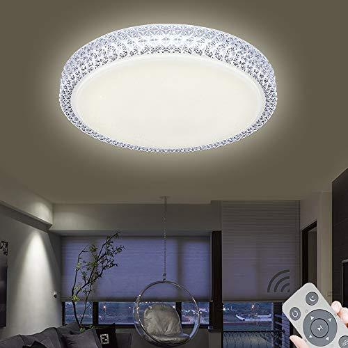 72W LED Deckenleuchte Rund Sternen Deko Wohnzimmerlampe Mit Fernbedienung Beleuchtung Für Zuhause Wohnzimmer Schlafzimmer Kinderzimmer (72W-Dimmbar 3000-6500K)