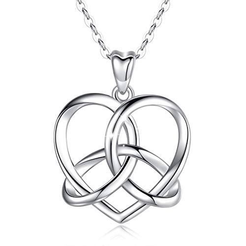 LOOVE Irish Celtic Love Knot Necklace Sterling Silver Dainty Heart Vintage Pendant Good Luck Jewelry with 18 Inches Chain, Memorial Gift for Women Couple Her