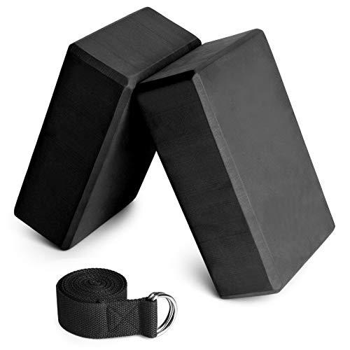 Festnight Yogablöcke,Yoga Klotz 2er mit 1er Baumwoll Yoga Gurt Yoga Block Set für Yoga Pilates Meditation Passend für Anfänger und Fortgeschrittene,Schwarz