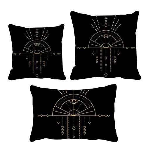 DIYthinker Totem patrón geométrico abanico, juego de almohadas de relleno para decoración del hogar, sofá