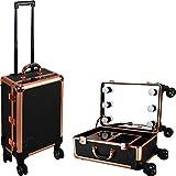 Ver Beauty Studio Rolling Vanity Makeup Case in rose Gold Trimming/Black Dot Pattern