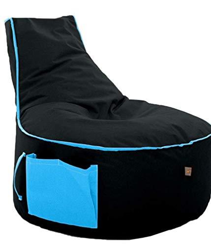Sitzsack BeanBag in versch. Farben wählbar Indoor Outdoor mit EPS Sytropor Füllung- Sessel Kissen Sofa Sitzkissen Bodenkissen (Erwachsene, Schwarz mit Türkis)