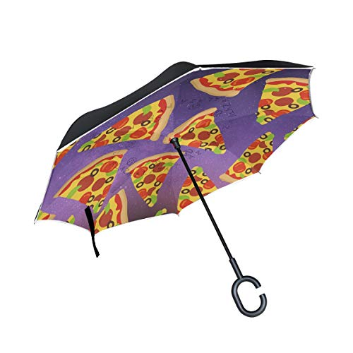 Night Sky Pizza Funny Double Layer Reverse/Inverted Umbrellas for Car Windproof