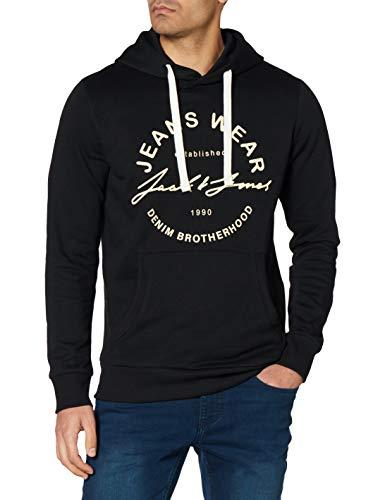 JACK & JONES JJHEROS Hood Sweatshirt Capuche, Noir/Coupe : Sweat, XL Homme