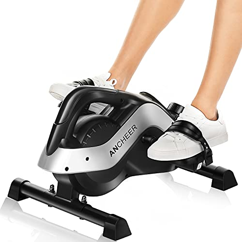 ANCHEER Pedal Exerciser, Under Desk Cycle Mini Magnetic Exercise Bike for Leg and Arm Exercise with LCD Monitor, 2-in-1 Peddler Equipment for Home & Office Training