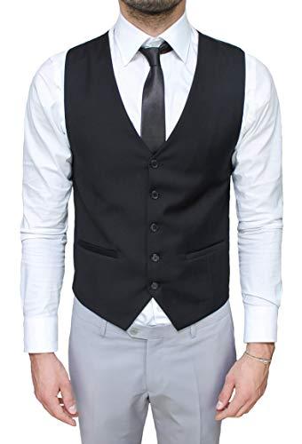 Evoga Gilet panciotto uomo nero smanicato elegante casual slim fit con cravatta (L, Nero)