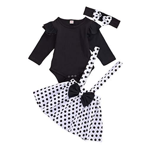 Baby Girl Ruffle Romper Tops Polka Dot Dress Suspender Tutu Skirt Bow Knot Headband 3Pcs Toddler 1st Birthday Outfit (White A, 12-18 Months)
