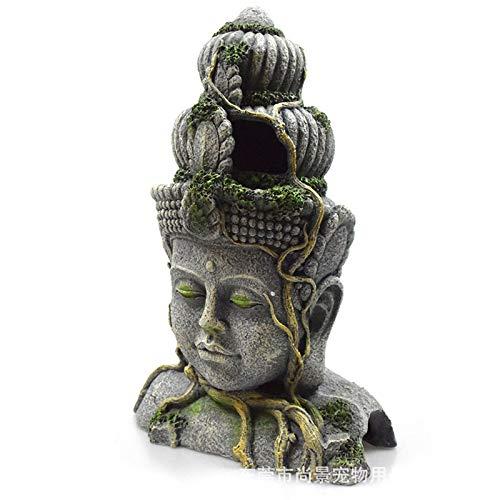 cherrypop Aquarium Stone Buddha Ornament Retro Figurines Resin Fish Tank Reptile Hideout Cave Landscape Decoration Accessories